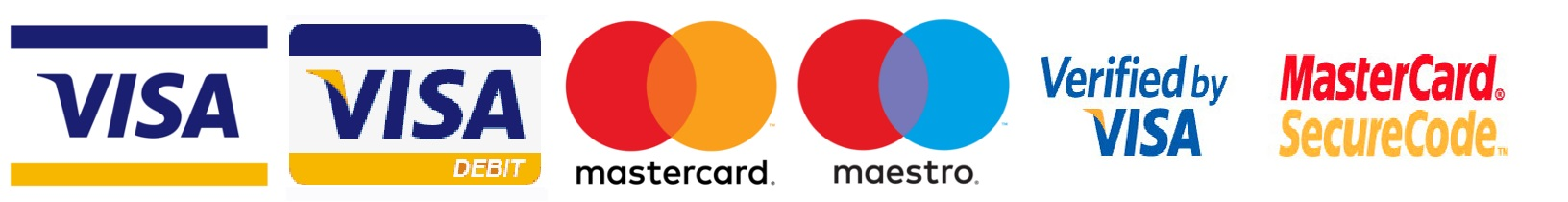 (Visa, Visa Debit, MasterCard, Maestro, Verified by Visa and MasterCard SecureCode)